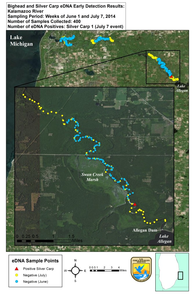 eDNA_map_Kalamazoo_River_2014